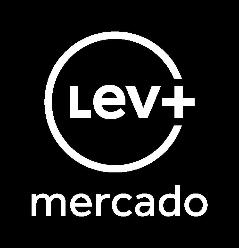 Logo Lev+ Mercado - Branca